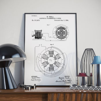 Nikola Tesla Patent Print - Electrical transmission of power - Office Art - Vintage Science Art - Engineering student gift idea