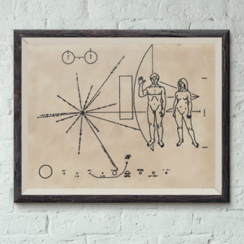 Pioneer Plaque Print on Hand stained vintage paper - Vintage Science Art - Space Art -  SETI Alien Greeting - NASA - Space Probe Message