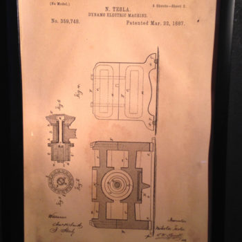 Tesla's Electric Dynamo Machine Patent - Hand Drawn - Vintage Science Drawing
