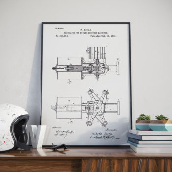 Nikola Tesla Patent Print – Regulator for Dynamo Electric Machine – 1886