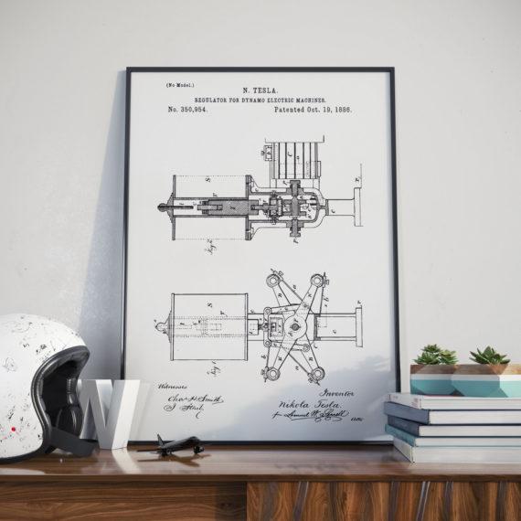 Nikola Tesla Patent Print – Regulator for Dynamo Electric Machine – 1886