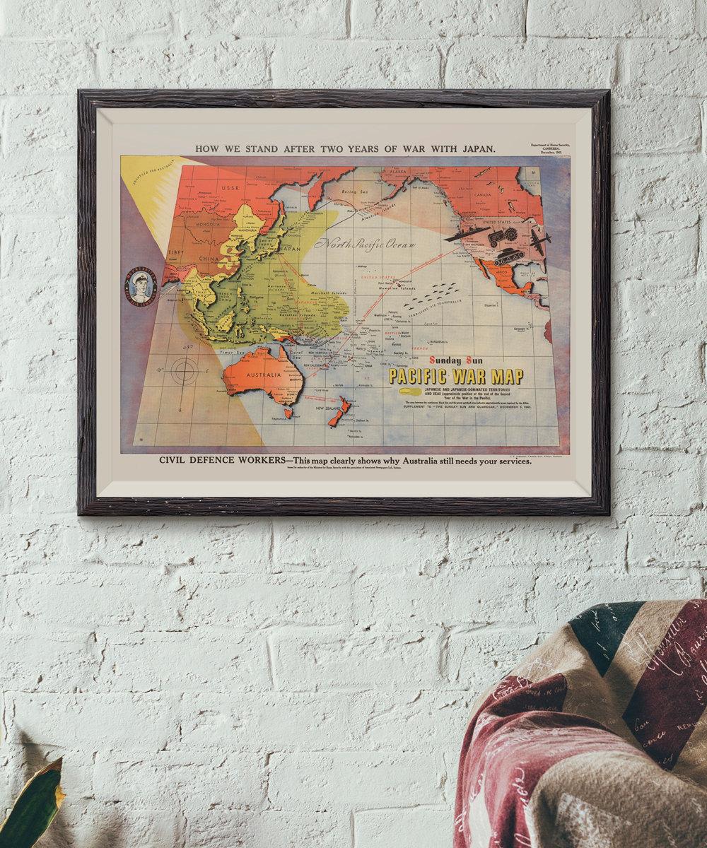 Pacific War Map - Cobblestone Productions - Historic Prints ...