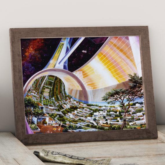 Toroidal Colony – Stanford torus – NASA Proposed Orbiting Habitat Space Art Print – Futurism – Space Illustration