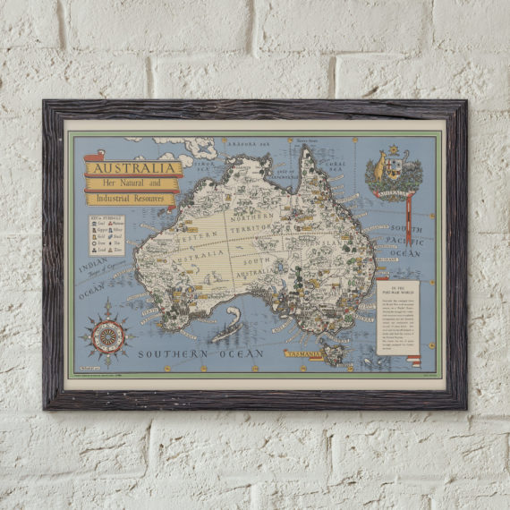 Map of Australia, Her Natural and Industrial Resources – Australian Map – Post World War One