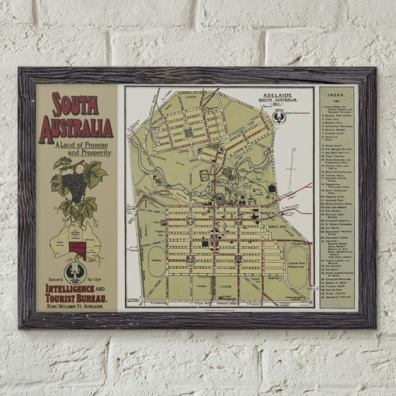 Restored Tourist Map of South Australia 1914 – Map of South Australia – Vintage Tourist Map