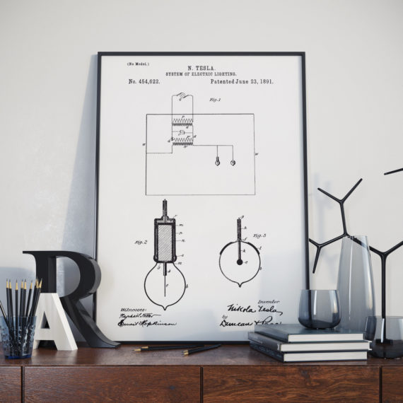 Nikola Telsa Patent Print – System of electric lighting – 1891