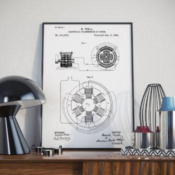 Nikola Tesla Patent Print – Electrical Transmission of Power – 1894