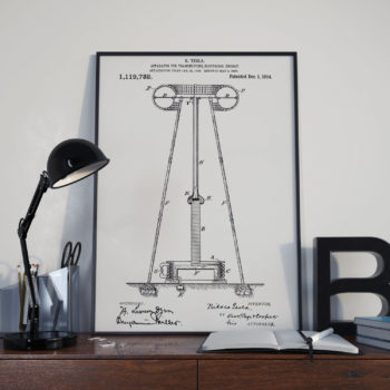 Nikola Telsa Patent Print – Apparatus for Transmitting Electrical Energy – 1914