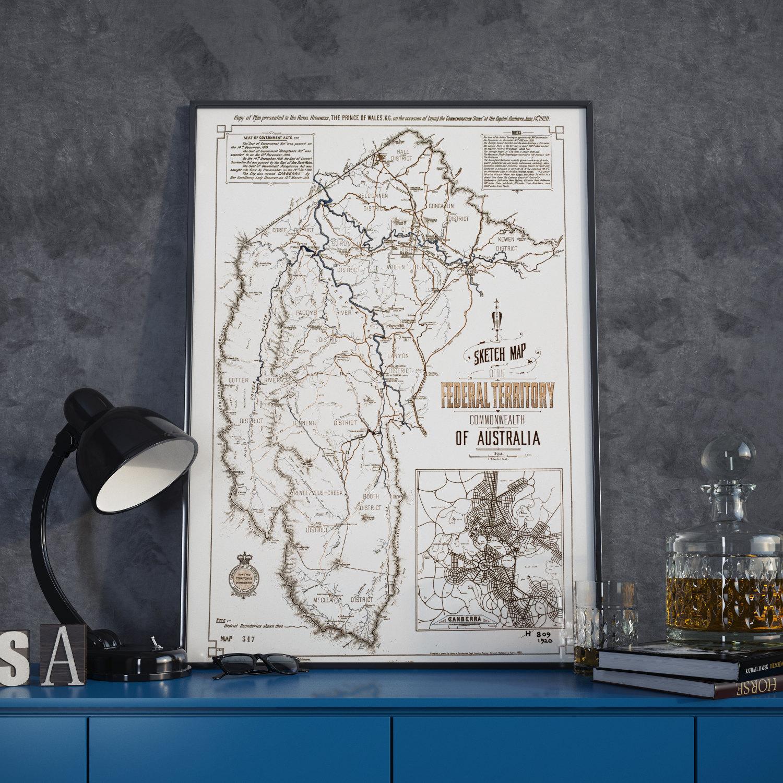 Topographic Map Of Canberra City District Australia Cobblestone