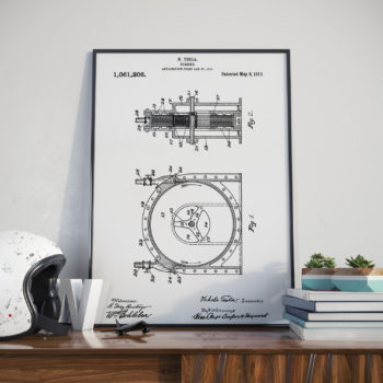 This is a patent print of Nikola Tesla's Turbine in 1913. This patent print includes the 4 page description written by Tesla and a profile page that provides a brief biography of Tesla. A perfect addition for any office, or perhaps that perfect gift for an aspiring engineer?