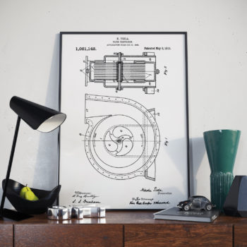 Nikola Telsa Patent Print – Apparatus for fluid propulsion – 1913