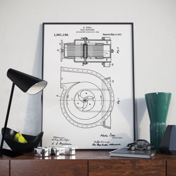 Nikola Telsa Patent Print – Apparatus for fluid propulsion – 1913