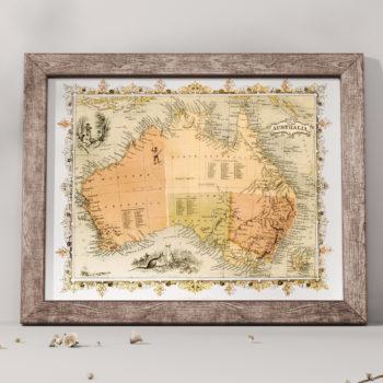 1860 Illustrated Map of Australia