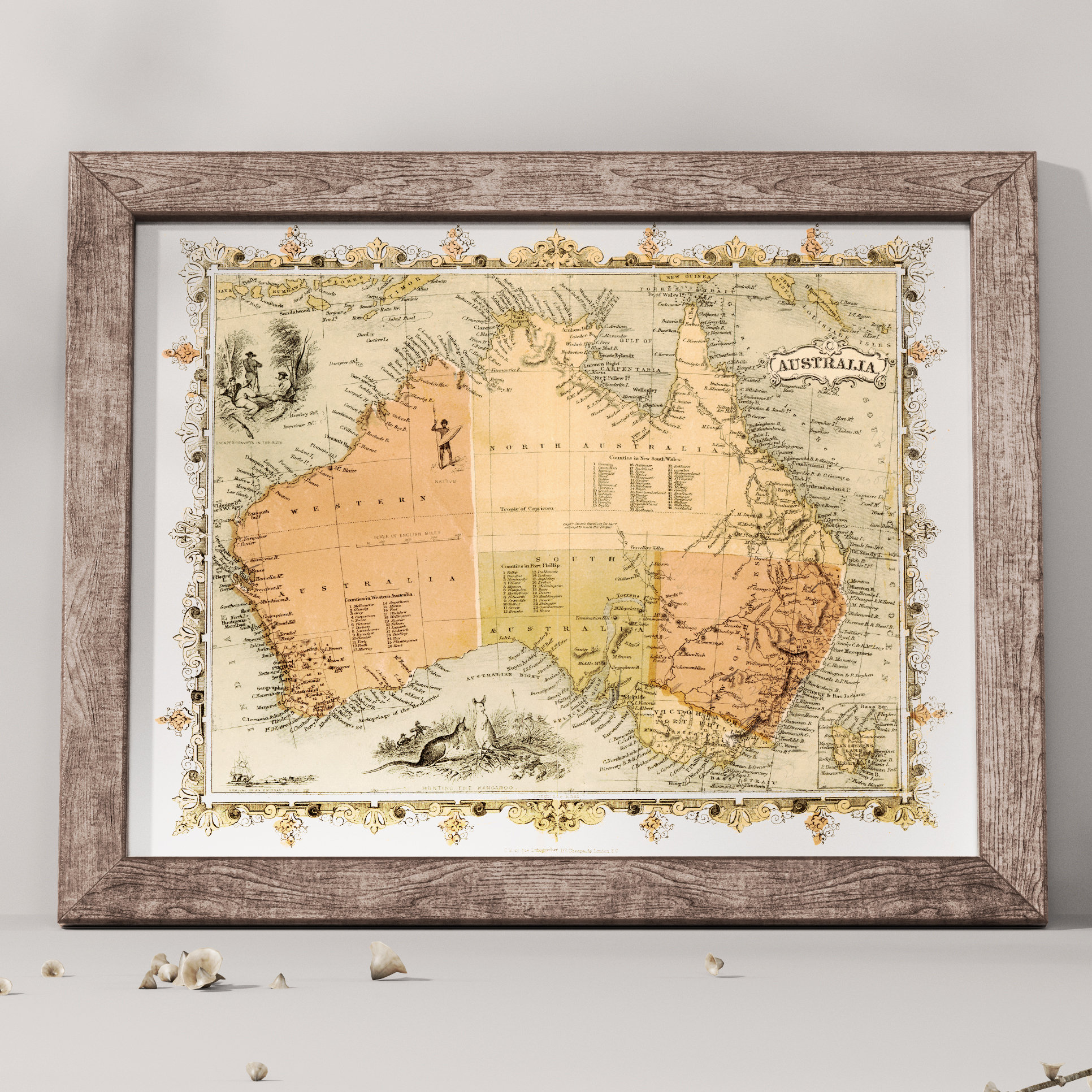 1860s map of australia art print includes illustrations of escaped convicts natives emigrant ship hunting kangaroo