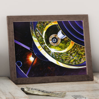 Bernal Spheres Colony - External View - Stanford torus - NASA Orbiting Habitat Space Art Print - Futurism Space Illustration - Canvas Art