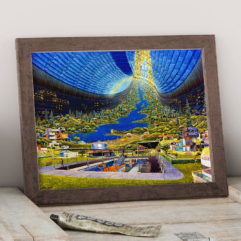 Toroidal Colony - Interior View - Stanford torus - NASA Proposed Orbiting Habitat Space Art Print - Futurism Space Illustration - Canvas Art