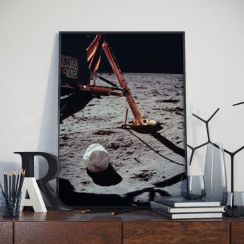 First Photo Taken From the First EVA Ever - Extravehicular activity - NASA Art Print - Space Art Poster - First Mission to the Moon 1969