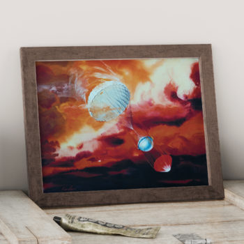 Galileo Probe descending into Jupiter's Atmosphere - NASA Artist Rendition  Space Art Print - Futurism - Space Illustration