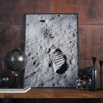 One of the first Bootprints on the moon - NASA Apollo 11 Art Print - Space Art Poster - Futurism - Space History